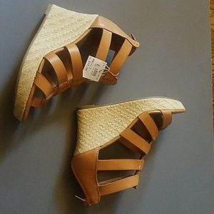 Brash Cognac Wedges, Caged/Gladiator style